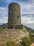 Башня Castello di Vernazza, Cinque Terre, Италии, на солнце стоковые изображения rf