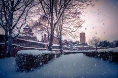 Башня Chindia, Румыния в очень холодной зиме стоковые фото