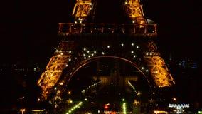 Башня Eifel, выставка ночи, Париж сток-видео