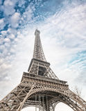 башня eiffel paris Взгляд ориентир ориентира на заходе солнца Стоковое Изображение