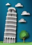 башня pisa Стиль бумажного ремесла Стоковые Изображения RF