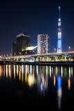 Башня Skytree токио в ноче Стоковое Изображение