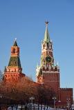 Башня Spasskaya и Nabatnaya Москвы Кремля, России Стоковое фото RF
