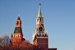 Башня Spasskaya и Nabatnaya Москвы Кремля, России Стоковая Фотография RF