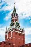 Башня Spasskaya Кремля на красной площади в Москве Стоковое Изображение RF