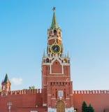 Башня Spasskaya Москвы Кремля на красной площади Россия Стоковые Фотографии RF