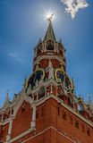 Башня Spasskaya Москвы Кремля Символ Российской Федерации Главная площадь Москвы Стоковое Изображение