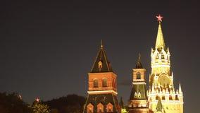 Башня Spassky Москвы Кремля на ноче стоковое фото