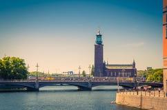 Башня Stadshuset городской ратуши Стокгольма муниципального совета, Swede стоковое фото