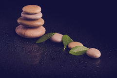 Балансируя камни Дзэн на черноте Стоковое Фото