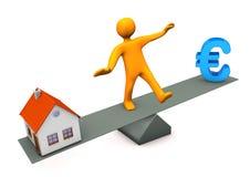 Баланс евро дома иллюстрация вектора