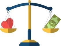 Баланс между сердцем и деньгами Иллюстрация вектора плоская Иллюстрация штока