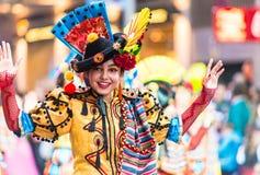 Бадахос, Испания - 24-ое февраля 2017: Дети участвуя в параде масленицы ` s детей в Бадахосе Стоковые Изображения RF