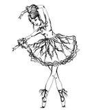 Балерина Винтажной черно-белой нарисованная рукой иллюстрация вектора Стоковые Фотографии RF