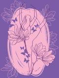 Балерина в танце с цветками и бабочками магнолии иллюстрация штока