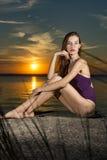 Балерина на теннисном корте Стоковое фото RF