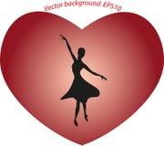 Балерина танцев в большом красном сердце в форме Стоковые Фотографии RF
