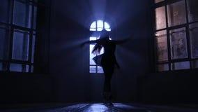 Балет грациозно девушки практикуя в студии, силуэте лунного света движение медленное сток-видео
