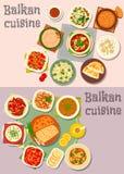 Балканские блюда обедающего кухни с комплектом значка пирогов Стоковое фото RF