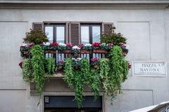 Балкон с цветками Стоковые Фото