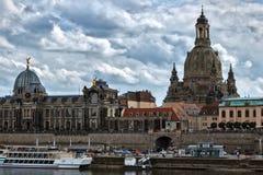 Балкон террасы Frauenkirche и Bruhl Европы - Дрездена - g Стоковое Изображение RF