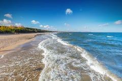 Балтийское море и залив Danzig плавают вдоль побережья в Польше стоковое фото