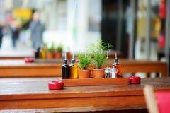 Бальзамический уксус и бутылки масла на таблице в внешнем кафе Стоковая Фотография