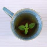 Бальзам лимона в чашке травяного питья на белом деревянном столе стоковое изображение