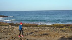 Бега женщины вдоль каменистого берега океана Здоровый активный образ жизни ( видеоматериал