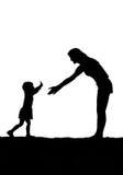 бега мати ребенка к Стоковое Фото