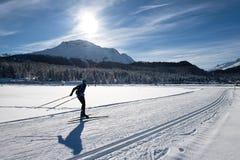 Беговые лыжи свободного технического человека skating стоковое изображение