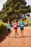 3 бегуна в марафоне страны Стоковая Фотография RF