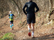 2 бегуна от заднего бега вдоль горной тропы Стоковая Фотография RF