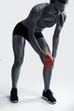 бегунка боли колена ушиба спорты мыжского идущие стоковые фото