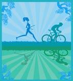 бегунок марафона и гонка велосипедиста Стоковое Изображение RF