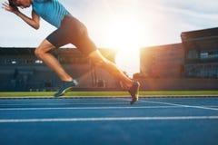 Бегун практикуя в стадионе атлетики Стоковое Изображение