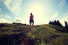 Бегун следа молодой женщины бежать на красивой горной тропе Стоковое фото RF