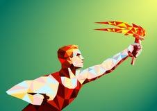 Бегун с олимпийским пламенем Стоковые Изображения RF