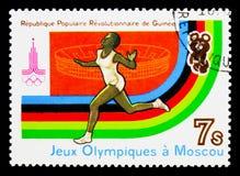 Бегущ, Олимпиады лета 1980, serie Москвы, около 1982 стоковое фото