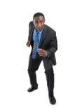 бег бизнесмена афроамериканца готовый к стоковое изображение