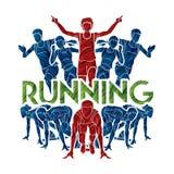 Бег людей, бегун, ход марафона, ход работы команды, группа людей бежать с ходом текста бесплатная иллюстрация
