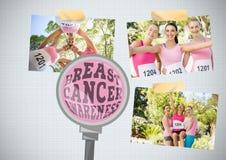 Бег марафона коллажа фото осведомленности текста рака молочной железы увеличиванный осведомленностью и рака молочной железы Стоковые Изображения RF