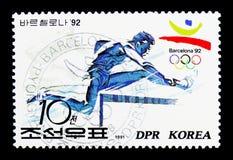 Бег с препятствиями, 1992 Олимпиады лета, serie Барселоны (I), около 1 стоковые изображения