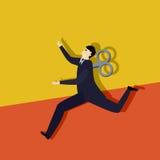 Бег clockwork бизнесмена Стоковое Изображение RF