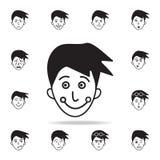 беда на значке стороны Детальный набор лицевых значков эмоций Наградной графический дизайн Один из значков собрания для вебсайтов иллюстрация штока