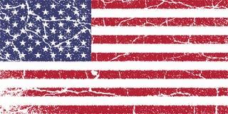 Беда печати знамени изолята вектора флага США старая иллюстрация вектора