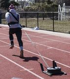 Бежать вытягивающ 50 фунтов на скелетоне Стоковое Изображение RF
