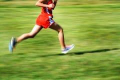 Бежать гонка в обмундировании красного цвета движения Стоковая Фотография