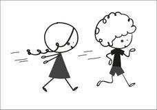 Бежать детей Doodle Стоковое Фото