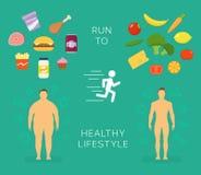 Бежать к карточке вектора здорового образа жизни плоской или Стоковое Фото